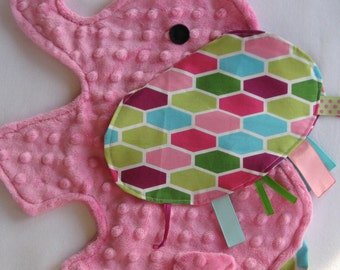 Hexagon Pink Elephant Shaped Sensory Security Blanket Lovey