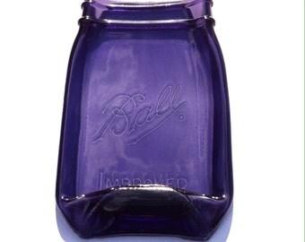 Purple Ball Mason Jar Spoon Rest - Quart Size Canning Jar - Butter Dish - Soap Dish
