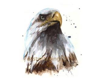 Watercolor EAGLE Print, american eagle, gift for grandpa, bird lover, eagle art, bird paintings