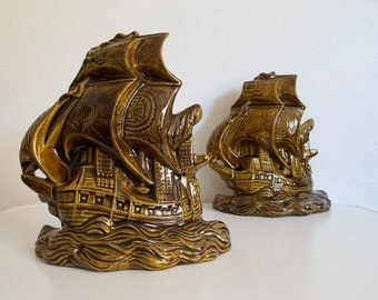 Vintage Ceramic Ship Bookends Pair Nautical