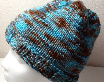 Hand Knitted Hat Turquoise and Brown  Sized Child to Adult