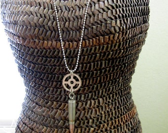 Bullet Necklace, Steampunk Necklace, Bullet Casing, Upcycled Jewelry, Recycled, For Him, Industrial, Men's Steampunk, Men's Necklace, Gothic