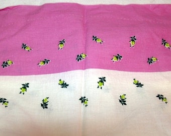Vintage lilac purple and green roses flowers Feed Sack Pillowcase Pillow case - feedsack