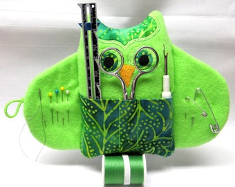 Sewing Kit Owl~Green and Neon Batik