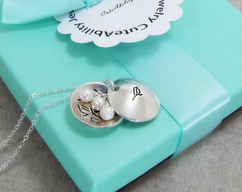 Bird Nest Necklace, Mother Necklace, Nest With Pearls, Clamshell Locket, Sterling Silver, Mama Bird, Mother And Children