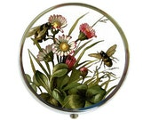 Pill Box Case Watercolor Bees Silver Stash