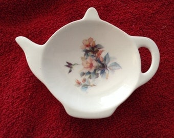 Ceramic Tea Bag Holder Humming Bird Floral 4.5""
