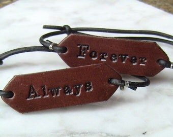 His and Hers - 3rd Anniversary - Forever - Always - Leather Adjustable Signet Bracelets - initials on reverse side option