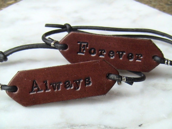 HIs & Hers - Forever - Always - Set of Two - Leather Adjustable Signet Bracelets with recipients initials and/or a heart on reverse side