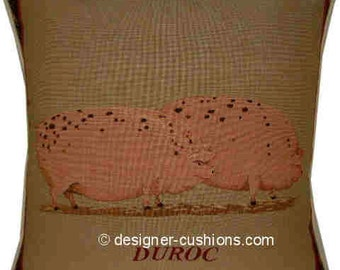 Old Fashioned Duroc Pig Tapestry Cushion Cover Sham