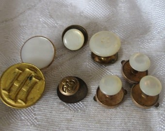 Lot of 8 Single VINTAGE Shell Gold Metal Jewelry Cuff Links