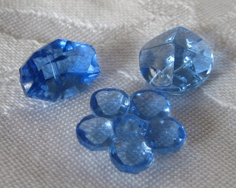 Lot of 3 VINTAGE Blue Glass BUTTONS