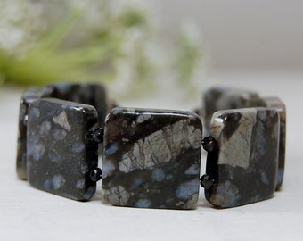 Gorgeous Llanite Bracelet Cuff Blacelet Sterling Silver