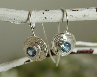 Faceted Aquamarine Earrings Sterling Silver March birthstone!
