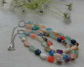 Triple Strand Multi Gem Necklace Sterling Silver Chain