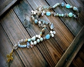 Beneath The Tides, Western Cowgirl Southwestern Boho Hand Knotted Mixed Gemstone & Bronze Cross Lariat Necklace