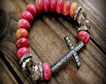 Star Gazer, Western Cowgirl Southwestern Boho Pink Agate & Crystal Cross Stretch Bracelet