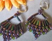 Beadwork Fan Earrings, Super Duo Earrings, Purple Iris Crystals, Boho Chic, Hippie, Off the Beaded Path, WINE