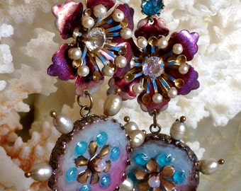 Lilygrace Blue and Purple Flower Dangle Earrings with Vintage Rhinestones and Freshwater Pearls