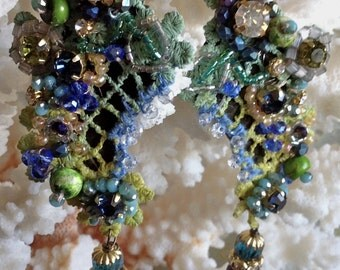 Lilygrace Blue and Green Vintage Lace Earrings with Rose Montee, Sea Lime, Freshwater Pearls and Vintage Glass Beads