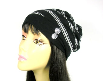 Light Weight Slouch Hat Lightweight Slouchy Hat Beanies Reversible Beanie Mens Hats Womens Hats Cool Hats Black and White Slouch Hats Tams