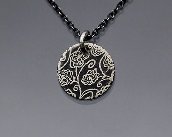 Tiny Rose Garden Necklace - etched sterling silver