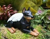 Doberman / Mini Pin Angel Dog Statue - Concrete Dobie, Pinscher Dog Art - Pet Memorial