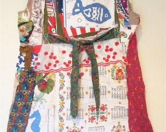 ANTIQUE SAMPLER DRESS- Vintage Embroidery Linens -Wearable Folk Art Collage - Applique Crazy Quilt Patchwork // mybonny random scraps fabric