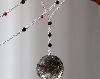 Rutilated Quartz Necklace with Spinel and Rubies in Solid Sterling Silver