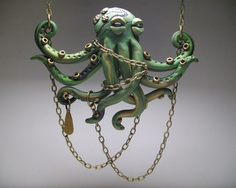 Chained Green Octopus Necklace - Polymer Clay Jewelry