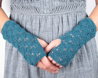 Cashmere Gloves Fingerless Gloves Turquoise Green Blue Hand Knit Woman's Cashmere Gloves - Merino