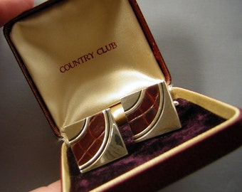 Vintage 50s Cufflinks Set Alligator Leather Inlay Gold Tone Original Box - Country Club Suave