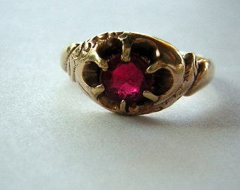 Antique 1800s Ring Victorian Gold & Spinel Engraved 1894 Sentimental Charming - Size 6
