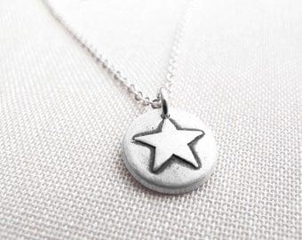Tiny star necklace, silver star jewelry