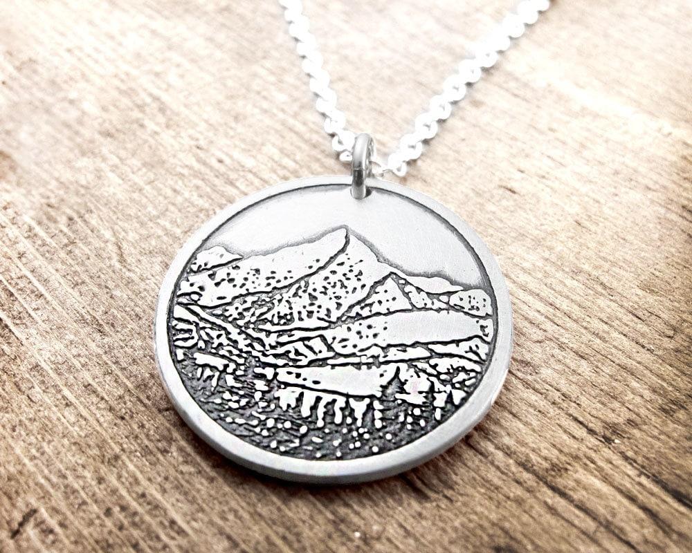 mountain necklace mountain jewelry silver mountain pendant