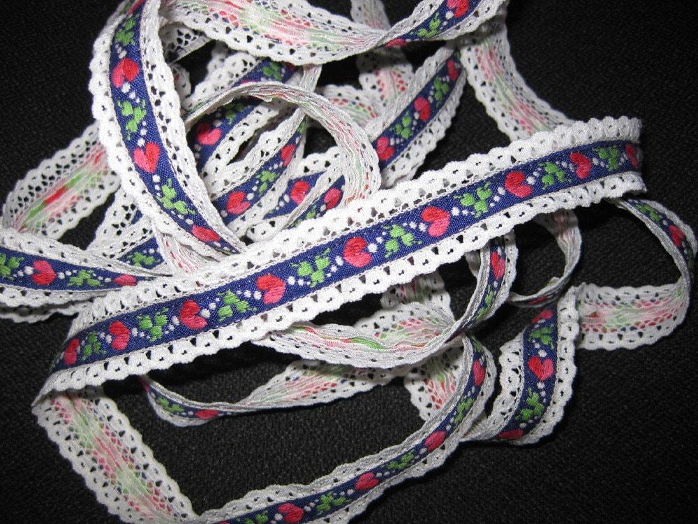 Vintage swiss alp like embroidered heart leaf lace tape for Vintage sites like etsy