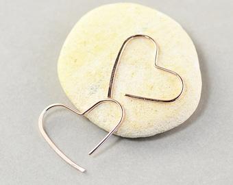 Rose Gold Heart Hoops, Small Heart Earrings, Bridesmaid Gift, Love