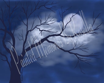 Night Sky 10x8 Instant Download Digital Painting