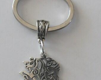 Sterling Silver CELTIC HORSE Key Ring, Key Chain - Whoa Team, Equestrian