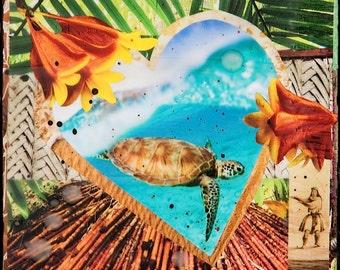 HONU LOVE, New 8x10, 11x14, 16x20, Hawaii, Hand-Signed matted print, Hawaii art, Sea Turtle, Green Sea Turtle, Heart Tropical, Ocean, Hawaii