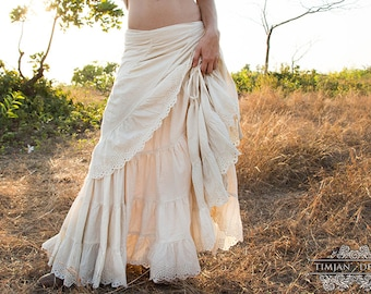 CHERISE LINEN SKIRT - Steampunk Wedding Bride Bohemian Burning man Hippie Boho Steam punk Belly dance Plus size Gypsy - Off white Cream