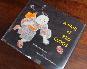 A Pair of Red Clogs. 1960s Japanese Childrens Story book with lovely illustrations.