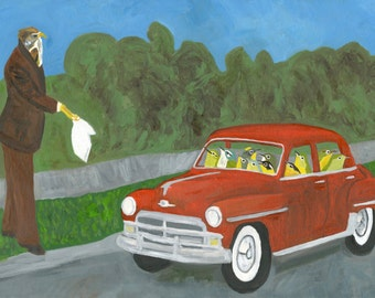 Some foolhardy songbirds unwittingly pick up their last hitch hiker. Original oil painting by Vivienne Strauss.