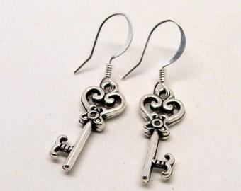 Steampunk key earrings.