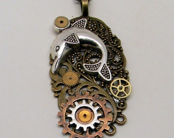 Steampunk dolphin necklace.