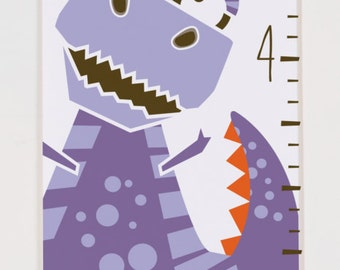 Personalized Growth Chart Dinosaurs - Purple