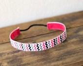 Pink black and Gray Chevron No Slip Headband