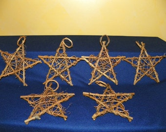 6 Inch Grapevine Star with Hanging Loop, Set of 6