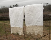 Pair Linen & Lace Towels Prairie French Tea Towels Cottage Chic Hand Towel READY to SHIP French Country Handmade Bath Décor Lace Tea Towel