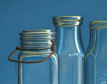 Antique Bottles 8x10 original oil painting realistic still life by Nance Danforth